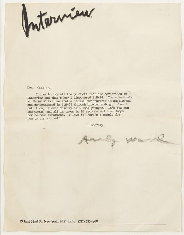 Andy Warhol, 'Typed Letter', 1979, Other, Typewritten letter on Interview letterhead paper, Roseberys