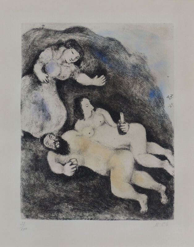 """Marc Chagall, '""""Lot and his Daughters""""', 1969, Print, Etching with handcoloring, AH Fine Art"""