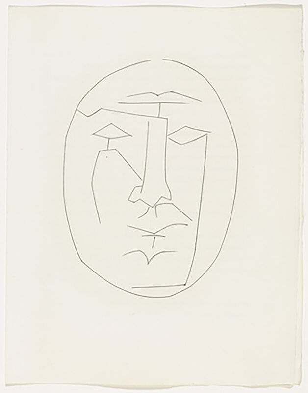 Pablo Picasso, ' Oval Head of Man Looking Straight (Plate XXIII)', 1949, Print, Original etching on Montval wove paper, Georgetown Frame Shoppe