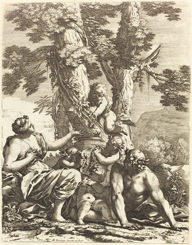 Michel Dorigny, 'Bacchanal with Seated Bacchante', 1650s, Print, Etching with engraving on laid paper, National Gallery of Art, Washington, D.C.