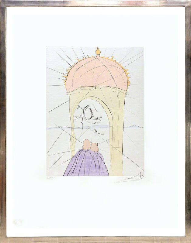 Salvador Dalí, 'Le musée de genie et du caprice. (The Museum of Genius and Whim.)', 1974, Print, Drypoint etching with pochoir stencil on Velin de Rives paper., Peter Harrington Gallery