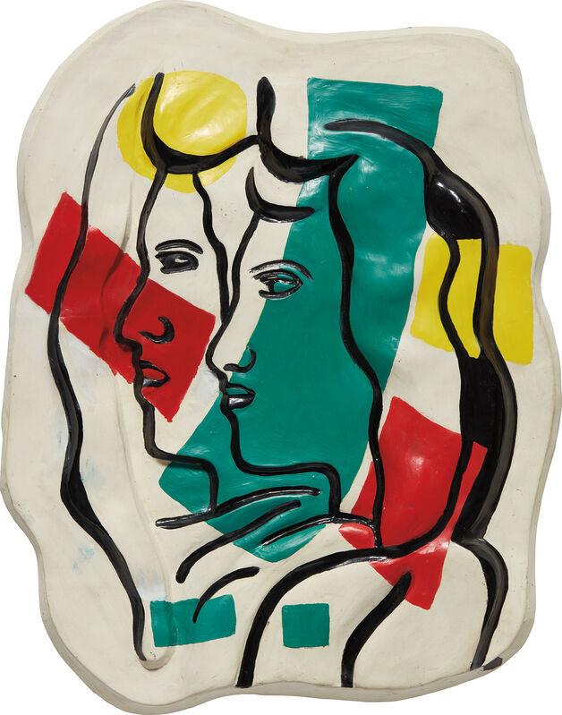 Fernand Léger, 'Les deux profils couleurs en dehors', 1952, Sculpture, Glazed and painted ceramic, Phillips