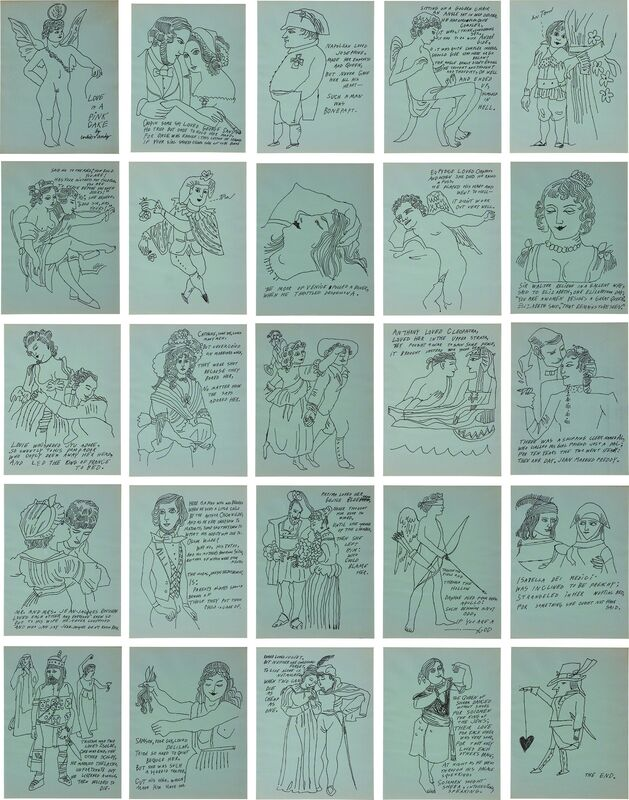 """Andy Warhol, 'Love is a Pink Cake', 1953, Print, The complete set of 25 offset lithographs, on pale blue paper, the full sheets, unbound (as issued), in collaboration with Ralph Thomas Ward (Corkie) who wrote the poems. Plate IV.30 hand-inscribed in the imagery """"hi Tom"""" and plate IV.32 with a few dashed 'doodles'., Phillips"""