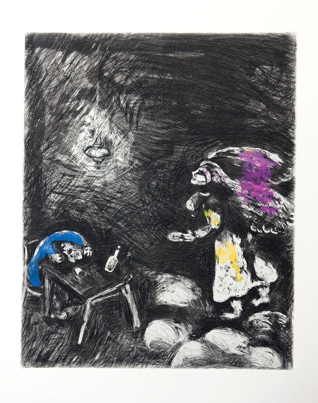 Marc Chagall, 'The Drunkard and his Wife', 1952, Print, Etching with hand colouring., Goldmark Gallery