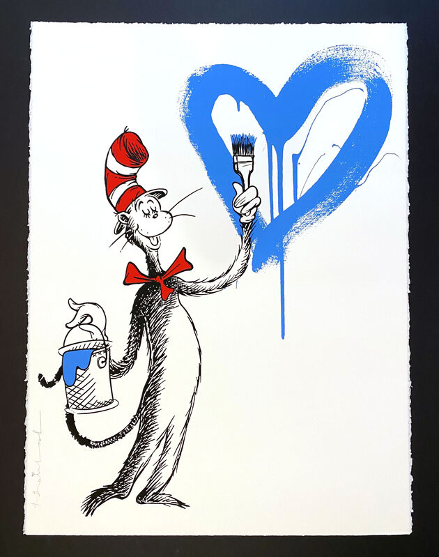 Mr. Brainwash, 'The Cat and The Heart (Blue)', 2020, Print, Silkscreen, Georgetown Frame Shoppe
