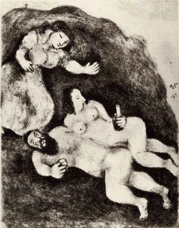 Marc Chagall, 'Lot and His Daughters (The Bible, #207)', 1956, Drawing, Collage or other Work on Paper, Etching, Martin Lawrence Galleries