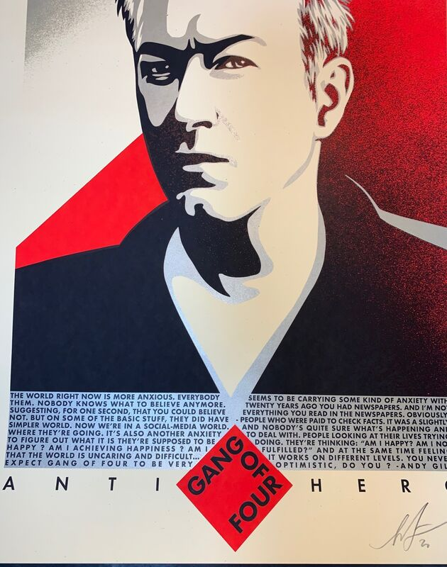 Shepard Fairey, 'Shepard Fairey Obey Giant Andy Gill Anti Hero Art Print Signed XX/400 Gang Of 4', 2020, Print, Fine Art Paper on Cream Speckletone., New Union Gallery