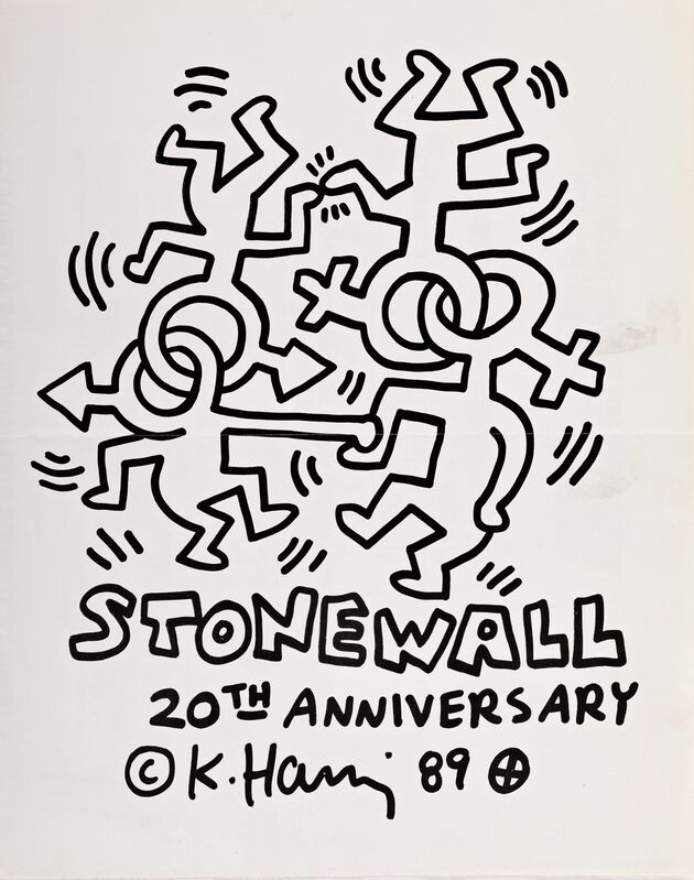 Keith Haring, 'Keith Haring Stonewall 20th anniversary poster (Keith Haring LGBT Community Center mural)', 1989, Posters, Offset lithograph, Lot 180