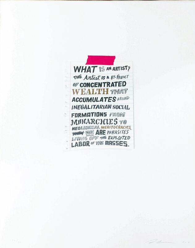William Powhida, 'What is an Artist?', 2017, Print, Silkscreen, Gallery Poulsen