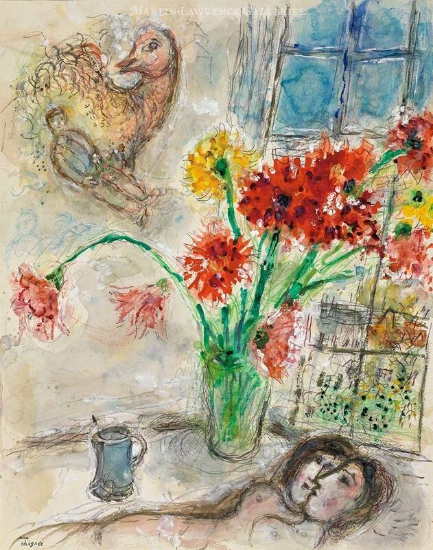 Marc Chagall, 'Lovers in Bouquet of Dahlias, watercolor ', 1971, Drawing, Collage or other Work on Paper, Watercolor, tempera, pastel, color pencil and pencil on heavy vellum paper, Martin Lawrence Galleries