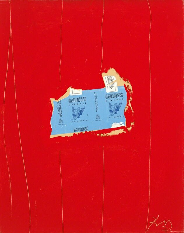 Robert Motherwell, 'Gauloises with Scarlet No. 1', 1972, Mixed Media, Acrylic and pasted papers on Upson board, Dedalus Foundation