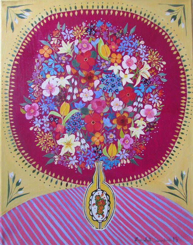 Hepzibah Swinford, 'Flowers in an Art Deco Vase', 2015, Painting, Oil on canvas, Rebecca Hossack Art Gallery