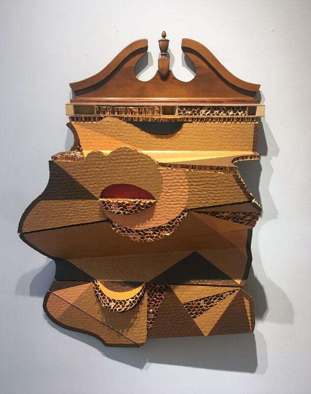 Elisabeth Jacobsen, 'Centerfold', 2019-2020, Sculpture, CC Variegated leaf, Polyacrylic, House Paint, Wood, Pediment, Carter Burden Gallery