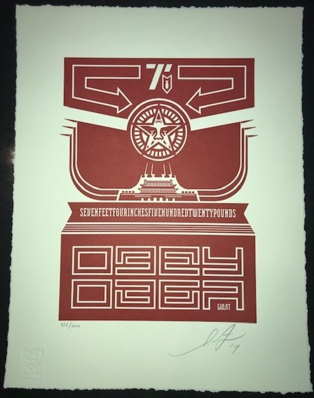 Shepard Fairey, 'Obey Chinese Banner Letterpress Print', 2014, Print, 1 color Letterpress on 100% cotton Lettre paper, 110# with deckled edges, New Union Gallery