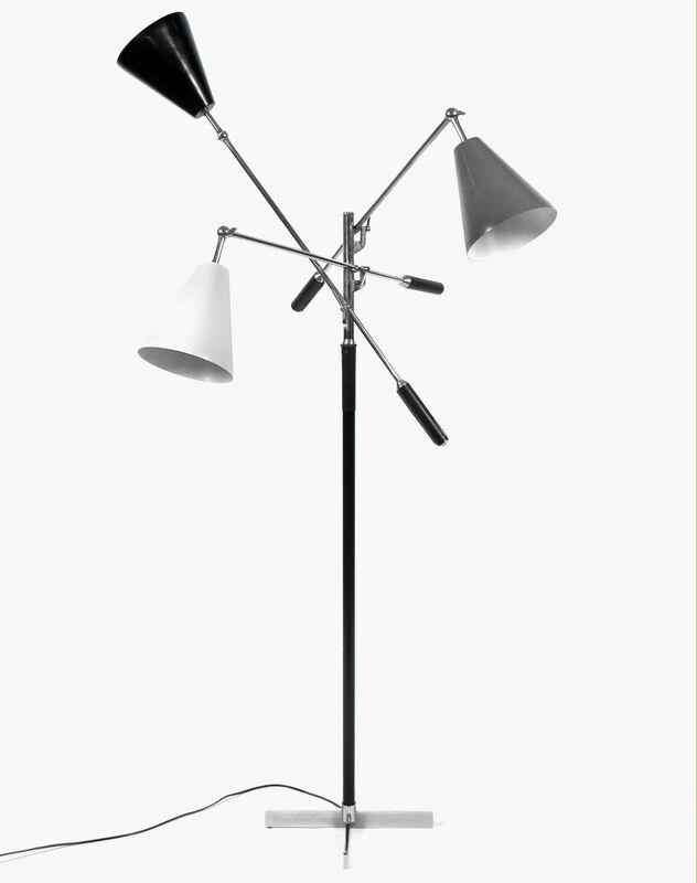 Arredoluce, 'Three Arm Floor Lamp', ca. 1950s, Design/Decorative Art, Chrome plated steel, leather, enameled metal, Patrick Parrish Gallery