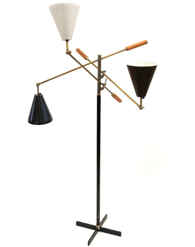 Arredoluce, 'Three Arm Floor Lamp', ca. 1950s, Design/Decorative Art, Brass, Leather, Enameled Aluminiium, Patrick Parrish Gallery