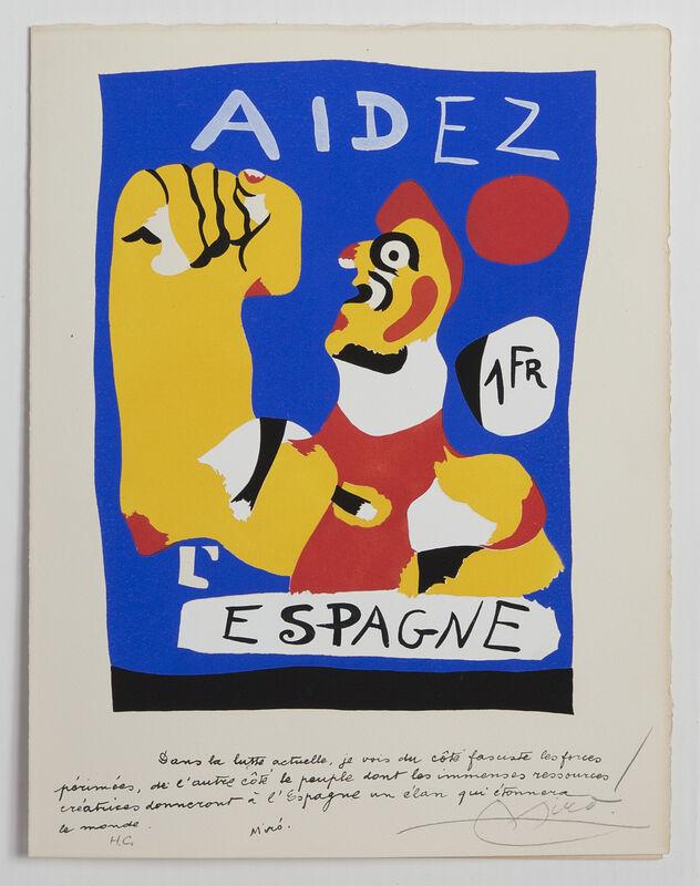 Joan Miró, 'Aidez L'Espagne (Help Spain)', 1937, Print, Pochoir in colors on paper, Hill-Stone, Inc.