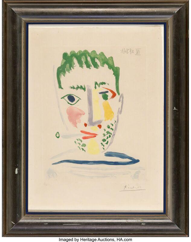 Pablo Picasso, 'Fumeur au Maillot Rayé Gris et Bleu', 1964, Print, Aquatint in colors on Auvergene Richard de Bas paper, with full margins, Heritage Auctions