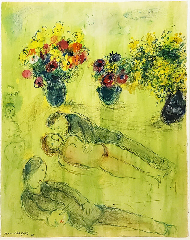 Marc Chagall, 'Pastorale du peintre sur fond vert (Pastoral of the painter on a green background)', 1981, Painting, Gouache, pastel, colored chalk, and tempera on paper, Jonathan Novak Contemporary Art