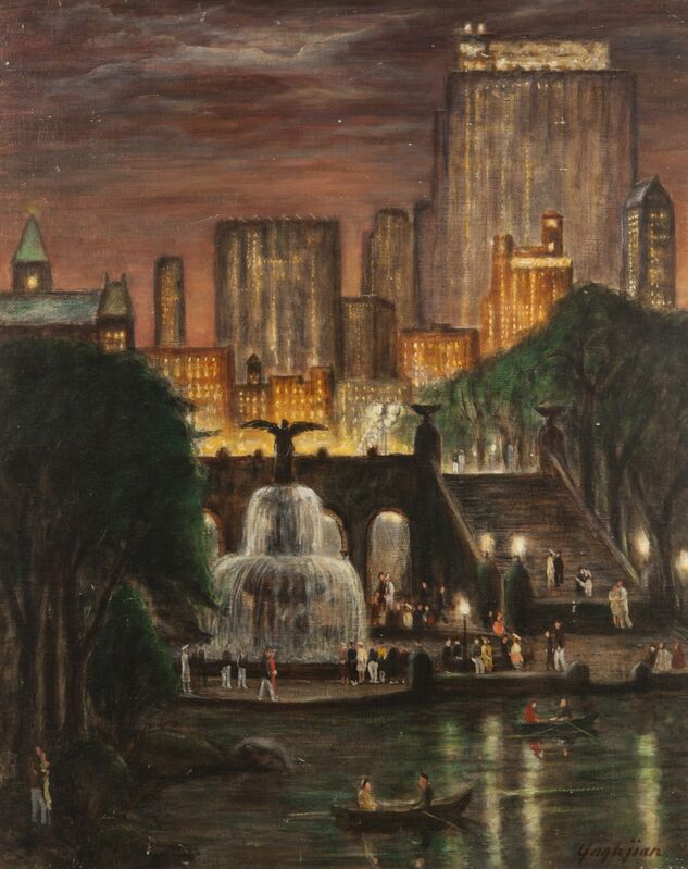 Edmund Yaghjian, 'Radio City from Central Park', 1938, Painting, Oil on board, ACA Galleries
