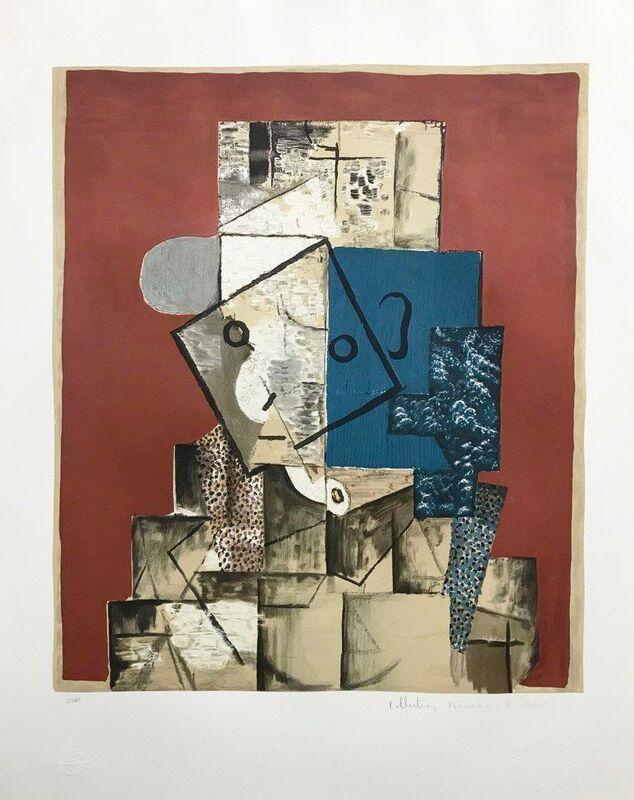 Pablo Picasso, 'Visage sur fond Rouge, 1914 ', 1982, Reproduction, Lithograph on Arches Paper, Cerbera Gallery