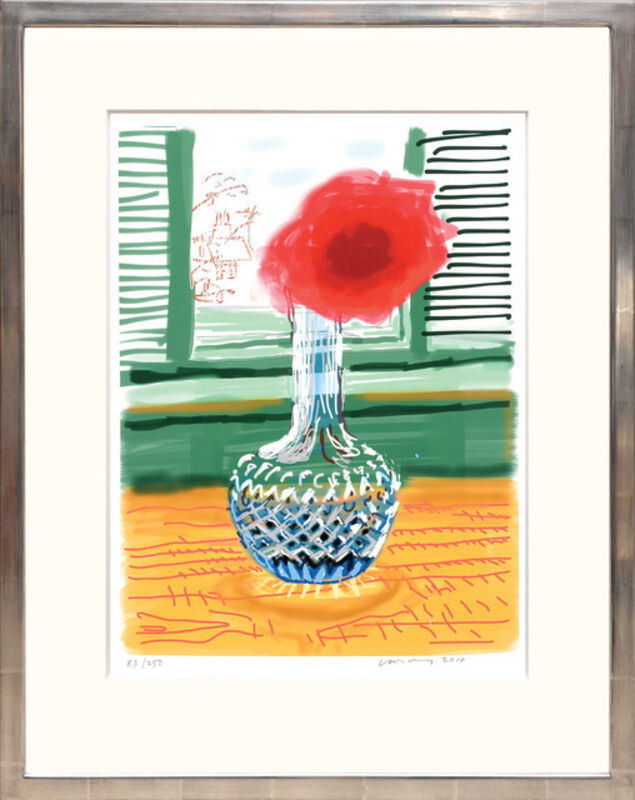 David Hockney, 'My Window with iPad drawing No. 281, 23rd July 2010, Rose in a Glass Vase', 2020, Print, Ink-jet print, Tanya Baxter Contemporary