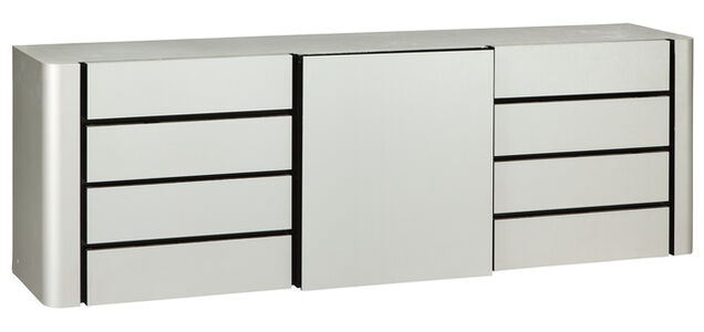 Michel Boyer, 'Enfilade Stainless Steel and Mahogany Sideboard', 2000s
