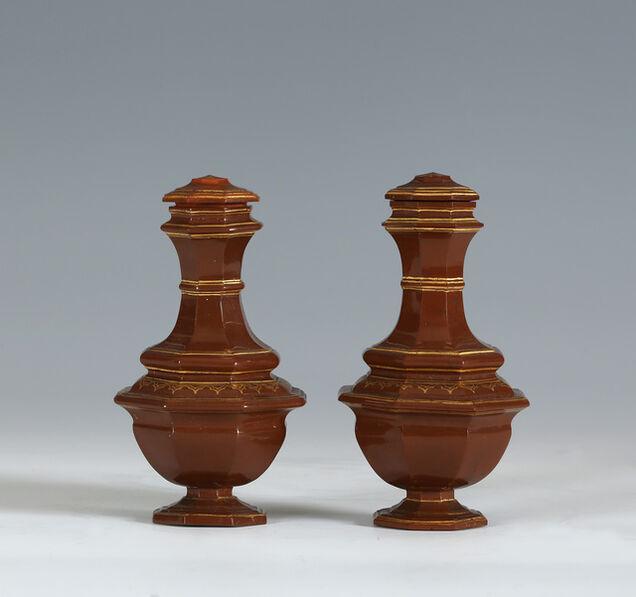 Meissen Porcelain Factory, 'A PAIR OF MEISSEN BÖTTGER STONEWARE VASES AND COVERS', 1710-1713