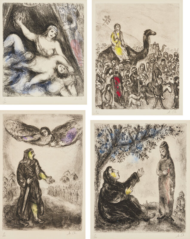 Marc Chagall, 'The Bible: plates 24; 46; 52 and 56', 1931-39, Print, Four etchings with hand-coloring, on Arches paper, with full margins., Phillips