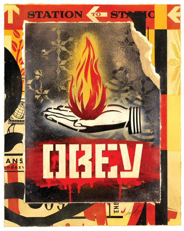 Shepard Fairey, 'Creative Flame', 2018, Mixed Media, Collage on paper, Galerie Ernst Hilger