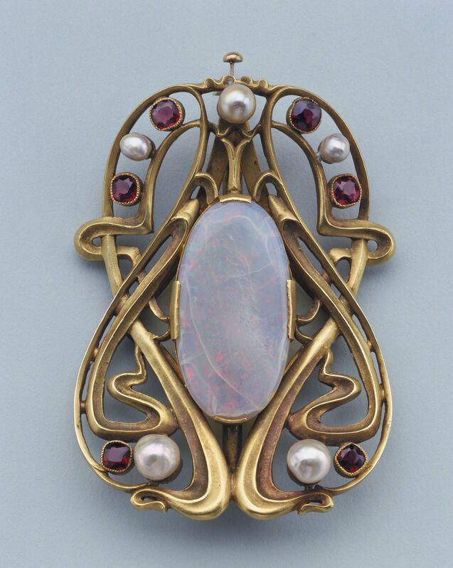 Edward Colonna, 'Buckle', ca. 1900, Design/Decorative Art, Gold, opal, pearls, garnets, Cooper Hewitt, Smithsonian Design Museum