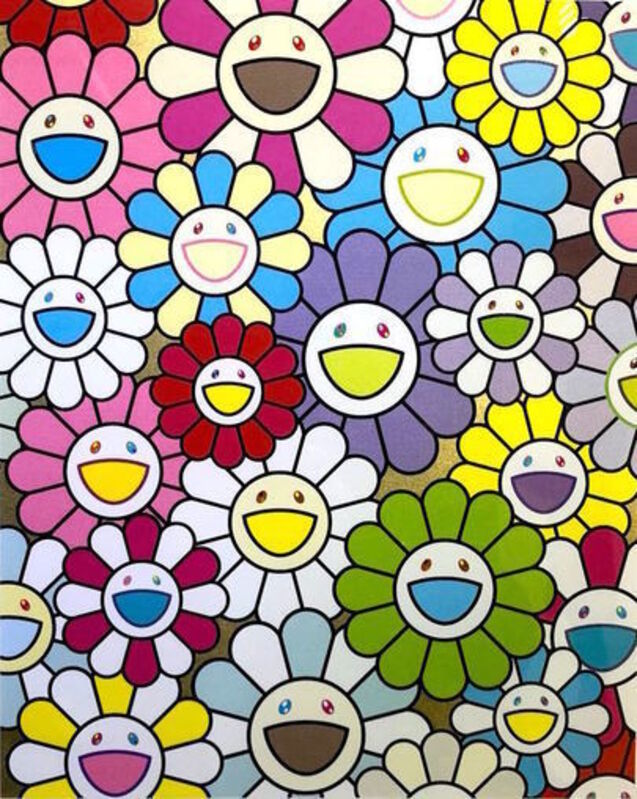 Takashi Murakami, 'A Little Flower Painting: Yellow, White and Purple Flowers', 2018, Print, Silkscreen with Gold leaves, Vogtle Contemporary