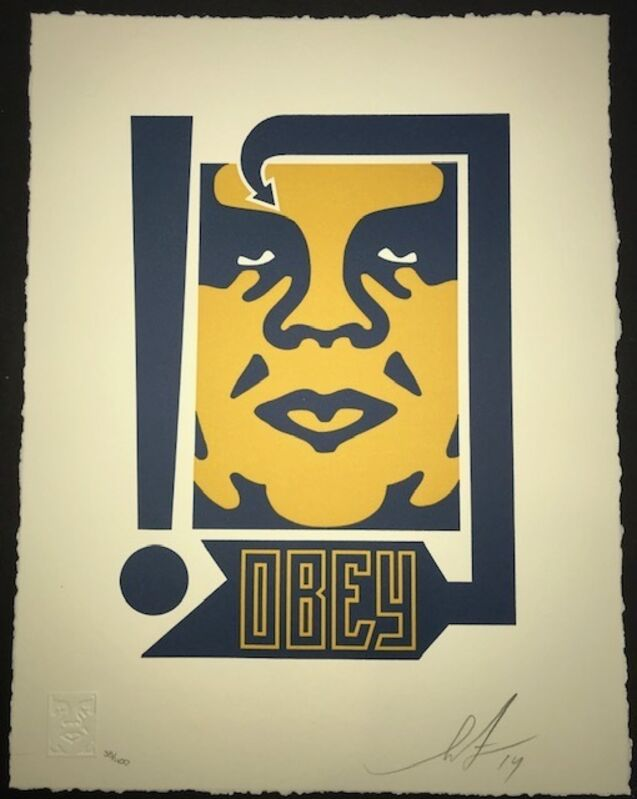 Shepard Fairey, 'Giant Mustard And Navy', 2014, Print, 2 color Letterpress on 100% cotton Lettre paper, 110# with deckled edges, New Union Gallery