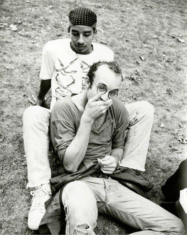 Andy Warhol, 'Keith Haring & Juan Dubose in Park', 1983, Photography, Unique silver gelatin print, Gagosian