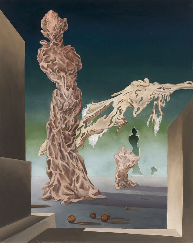 James Gleeson, 'The Attitude of Lightning Towards a Lady-Mountain', 1939, Painting, Oil on canvas, National Gallery of Victoria