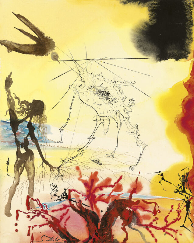 Salvador Dalí, 'La Famine', 1975, Drawing, Collage or other Work on Paper, Engraving and Lithograph on Soft Glove Sheepskin, Cha Cha Gallery