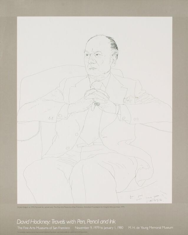 David Hockney, 'Portrait of Sir John Gielgud', (Date unknown), Ephemera or Merchandise, Stone Lithograph, ArtWise