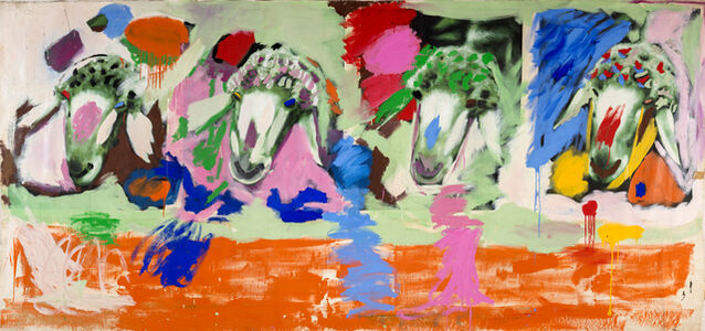 Menashe Kadishman, '4 Sheep's Heads', 1980-1982