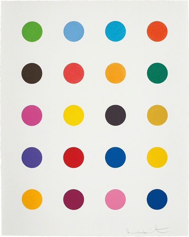 Damien Hirst, 'Benzyloxyurea, from 40 Woodcut Spots', 2011, Print, Woodcut in colours, on Somerset Textured paper, with full margins, Lougher Contemporary