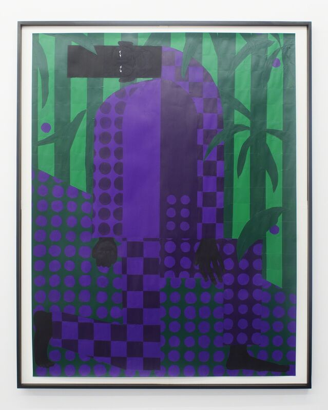 Jon Key, 'Man in the Violet Dreamscape No. 4 (Kneeling)', 2018, Painting, Acrylic on Paper, Rubber Factory