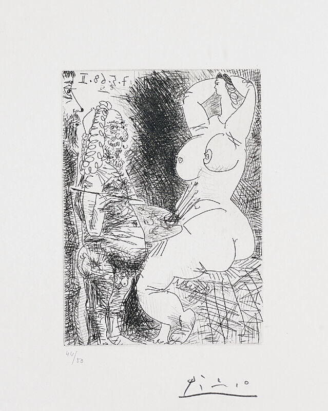 Pablo Picasso, 'Vieux Peintre, Modèle et Spectateur (Old Painter, Model and Spectator), pl. 68 from Séries 347', 1968, Print, Etching, drypoint and scraper, on wove paper, with full margins, Phillips