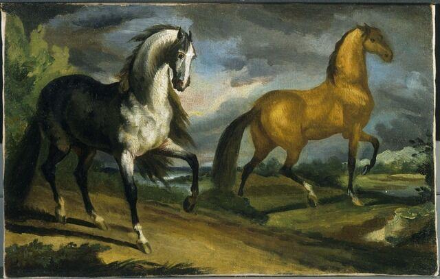 Théodore Géricault   Two Horses (ca. 1808-1809)   Artsy