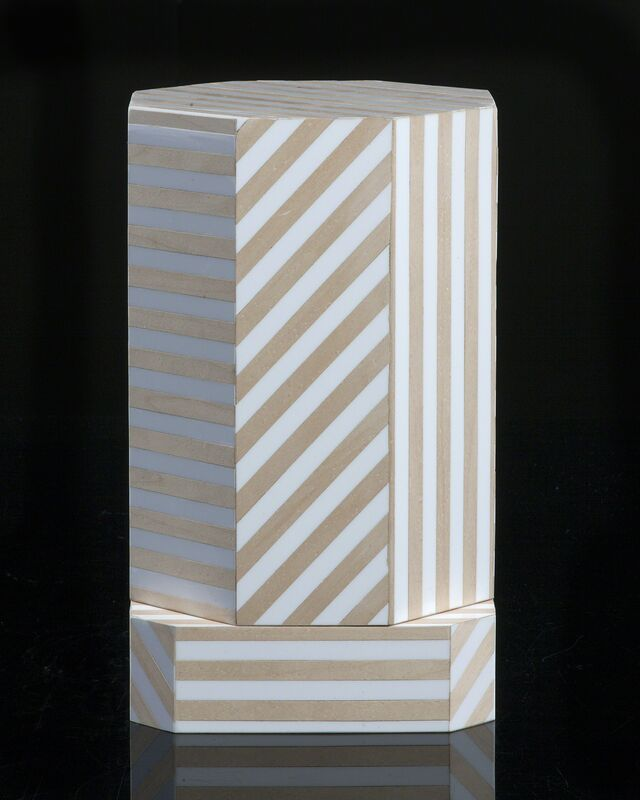 "Oeuffice, '""Ziggurat"" single container, Natural Stripes', 2012, Design/Decorative Art, Wood, vintage Formica, R & Company"