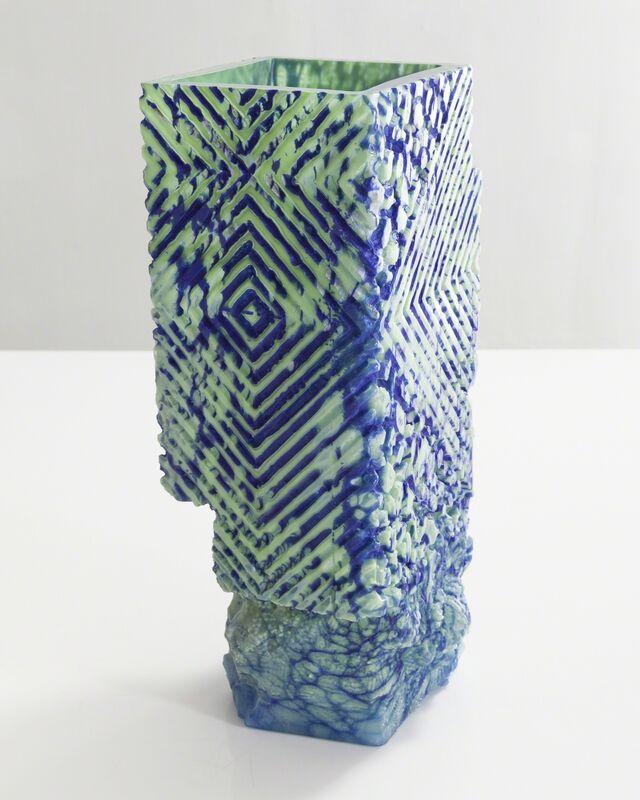 Thaddeus Wolfe, 'Unique blown glass vessel in blue and light aqua', 2015, Design/Decorative Art, Hand-blown, cut and polished glass., R & Company