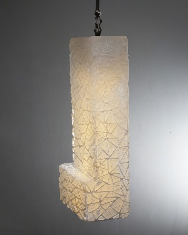 Thaddeus Wolfe, 'Unique Triangle Relief pendant lamp in white and opaline glass', 2015, Design/Decorative Art, Hand-blown, cut and polished glass., R & Company