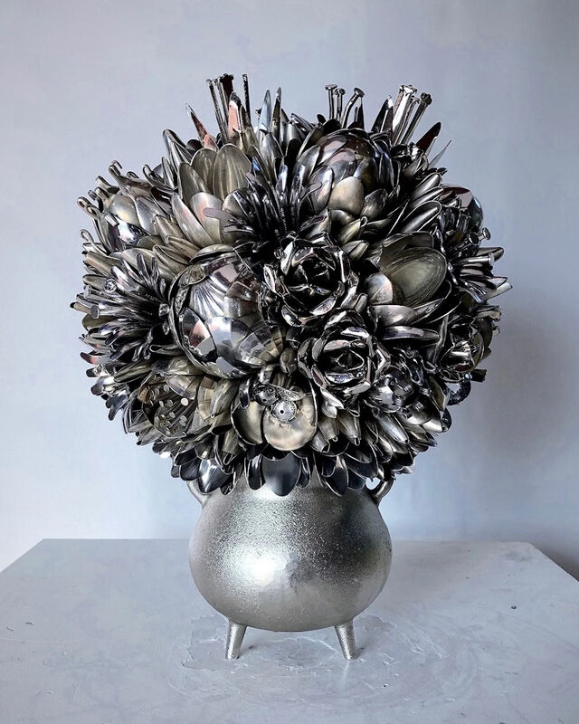 Ann Carrington, 'Jonquil', ca. 2020, Sculpture, Silver, nickel and steel plated spoons, The Drang Gallery