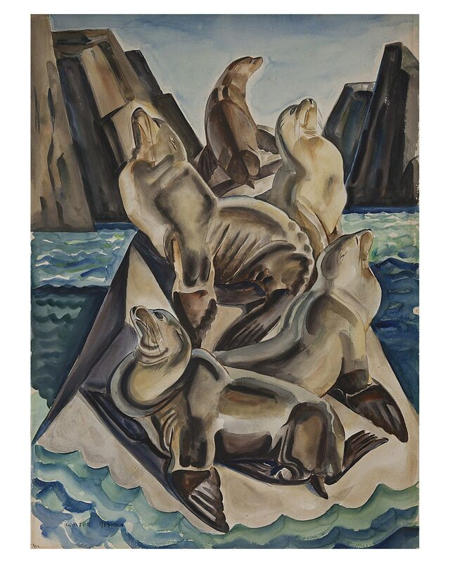 Walter Addison Estate, 'Sea Lions', 1937, Painting, Watercolor on paper, Cade Tompkins Projects