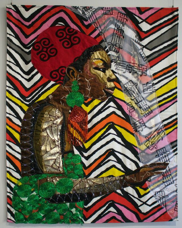 Bisa Butler, 'Mississippi Goddamn', 2016, Mixed Media, Cotton, Silk, Sequins, Quilted and Appliqué, Richard Beavers Gallery