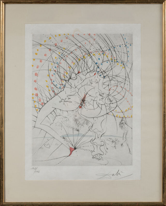 Salvador Dalí, 'La femme-feuille', 1969, Print, Drypoint hand-coloured with watercolour on Japon paper, Samhart Gallery