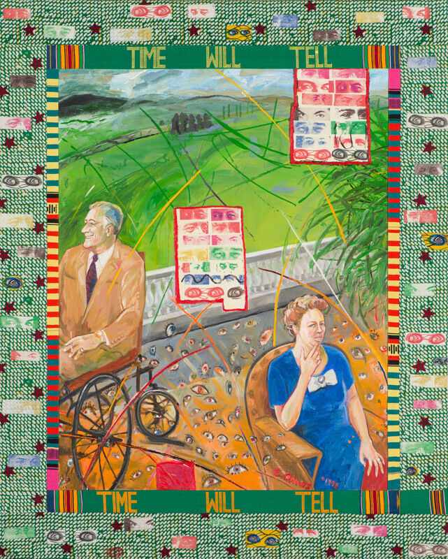 Emma Amos, 'Time Will Tell', 1998, Painting, Acrylic and fabric collage on canvas, Larsen Gallery